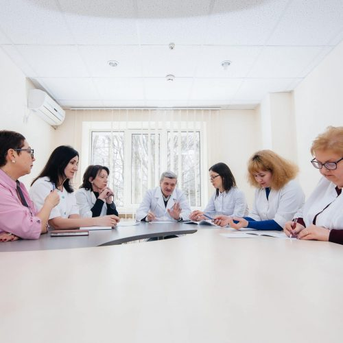 Meeting of doctors in the clinic about the virus epidemic. Virus, and epidemic, quarantine